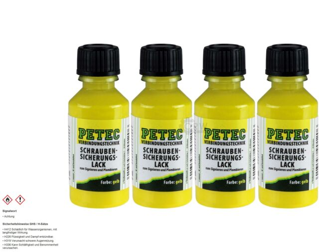 4x PETEC Thread Lock Paint Yellow 20ml Brush Bottle
