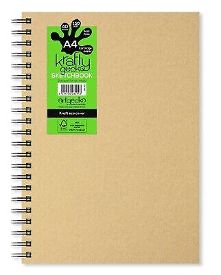 80 Pages 150gsm Acid Free White Cartridge Paper A4 Portrait Artgecko Krafty Sketchbook