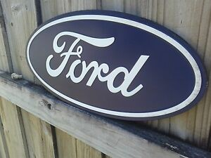Ford oval large embossed metal sign with raised letters 20 for Raised metal letters