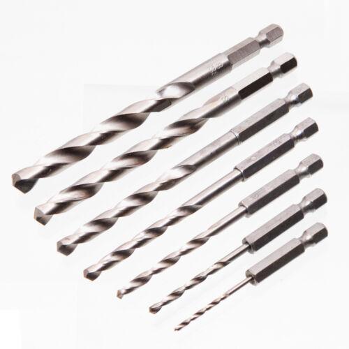7 tgl 2-8 mm HSS Universal Bohrer Satz HEX Aufnahme Metalbohrer Kunststoffbohrer