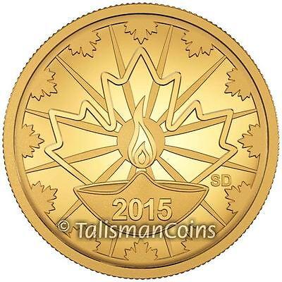 Canada 2015 Diwali Festival of Lights Lakshmi 25 Cents 0.5 Gram Gold Quarter Prf