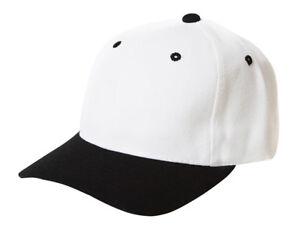 Plain-Blank-Baseball-Hats-Adjustable-Hook-and-Loop-Closure-Caps-White-Black