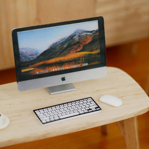 BE-MAC 1//12 scale miniature toy iMac computer with keyboard and mouse