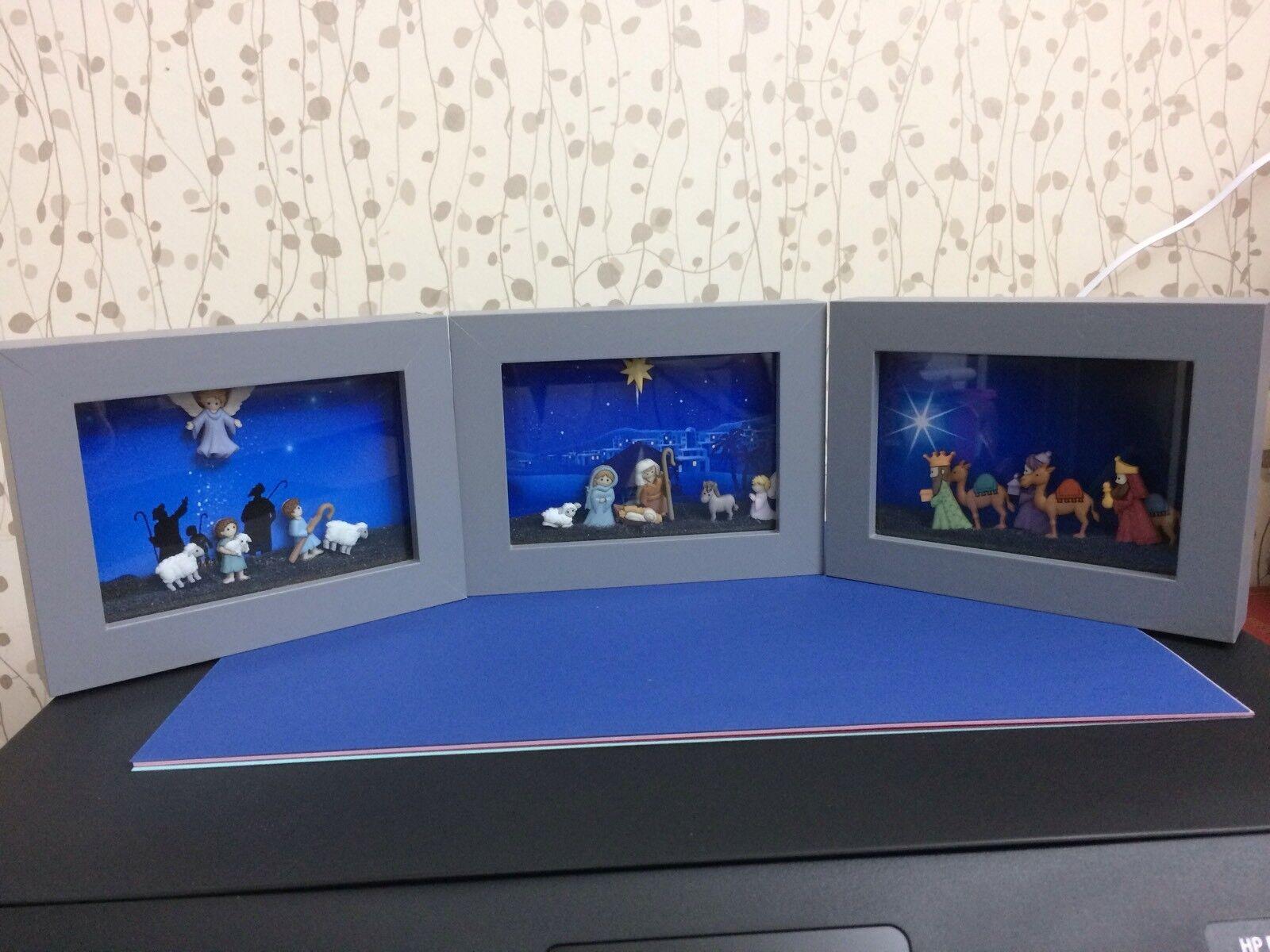Adorable 3D Navidad Pesebres 3 cuadros Libre De Pie O Colgar