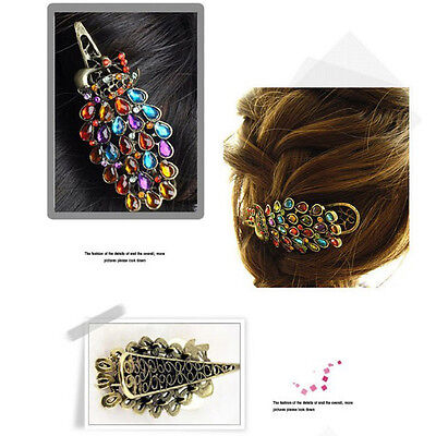 Dashing Vintage Women Crystal Rhinestone Peacock Hair Barrette Clip Hairpin