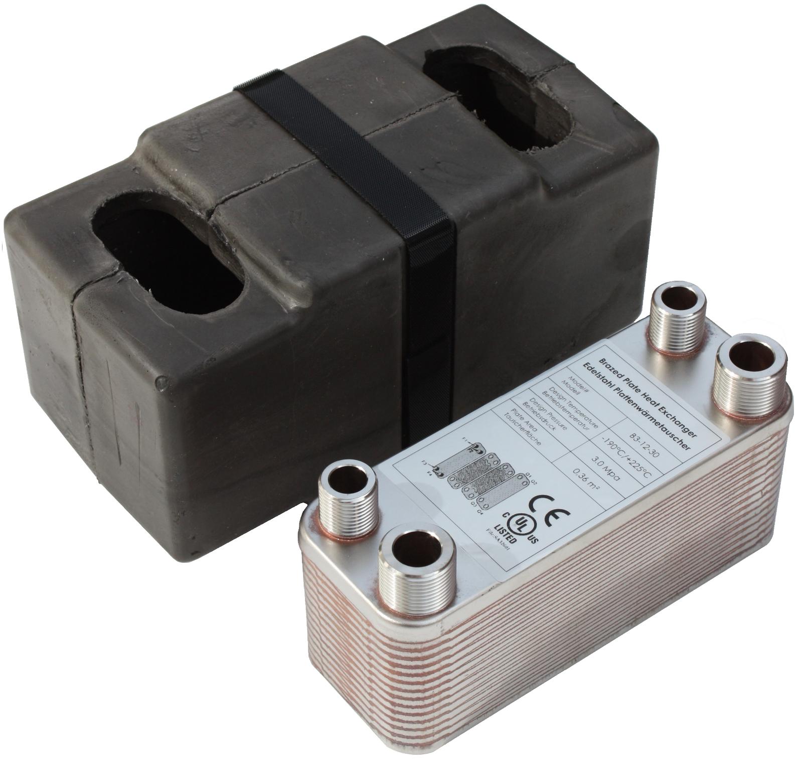 Edelstahl Plattenwärmetauscher mit Iso. B3-12-30  65kW Heizung Solar