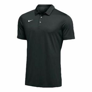 Nike-Golf-Dri-Fit-Mens-Black-Polo-White-Embroidered-Swoosh