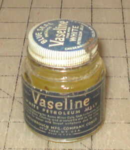 Vintage-VASELINE-Blue-Seal-Package-White-Petroleum-Jelly-2-5-034-Tall-Glass-Jar