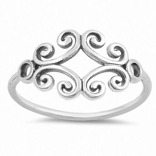 Celtic Filigree Band Ring 925 Sterling Silver Simple Plain