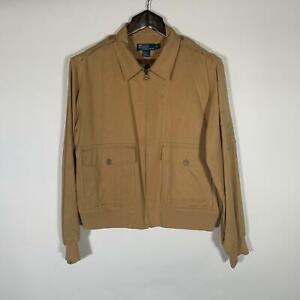 Polo-Ralph-Lauren-Jacket-Zip-Up-Silk-Linen-Beige-Casual-Men-Sz-L-261