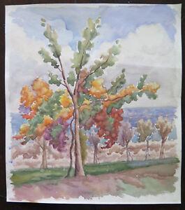 Vecchio Dipinto Ad Acquerello Paesaggio Autunnale Con Alberi Da