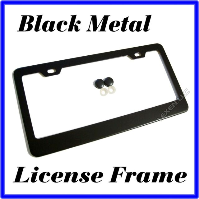 BLACK STAINLESS STEEL METAL LICENSE PLATE FRAME + SCREW CAPS TAG COVER /BF a