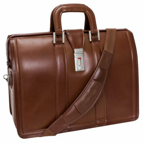 "McKlein USA MORGAN V series 17/"" Leather Laptop Litigator Briefcase"