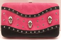 Skulls Wallet Pink & Black With Studs & Rhinestones With Checkbook Cover