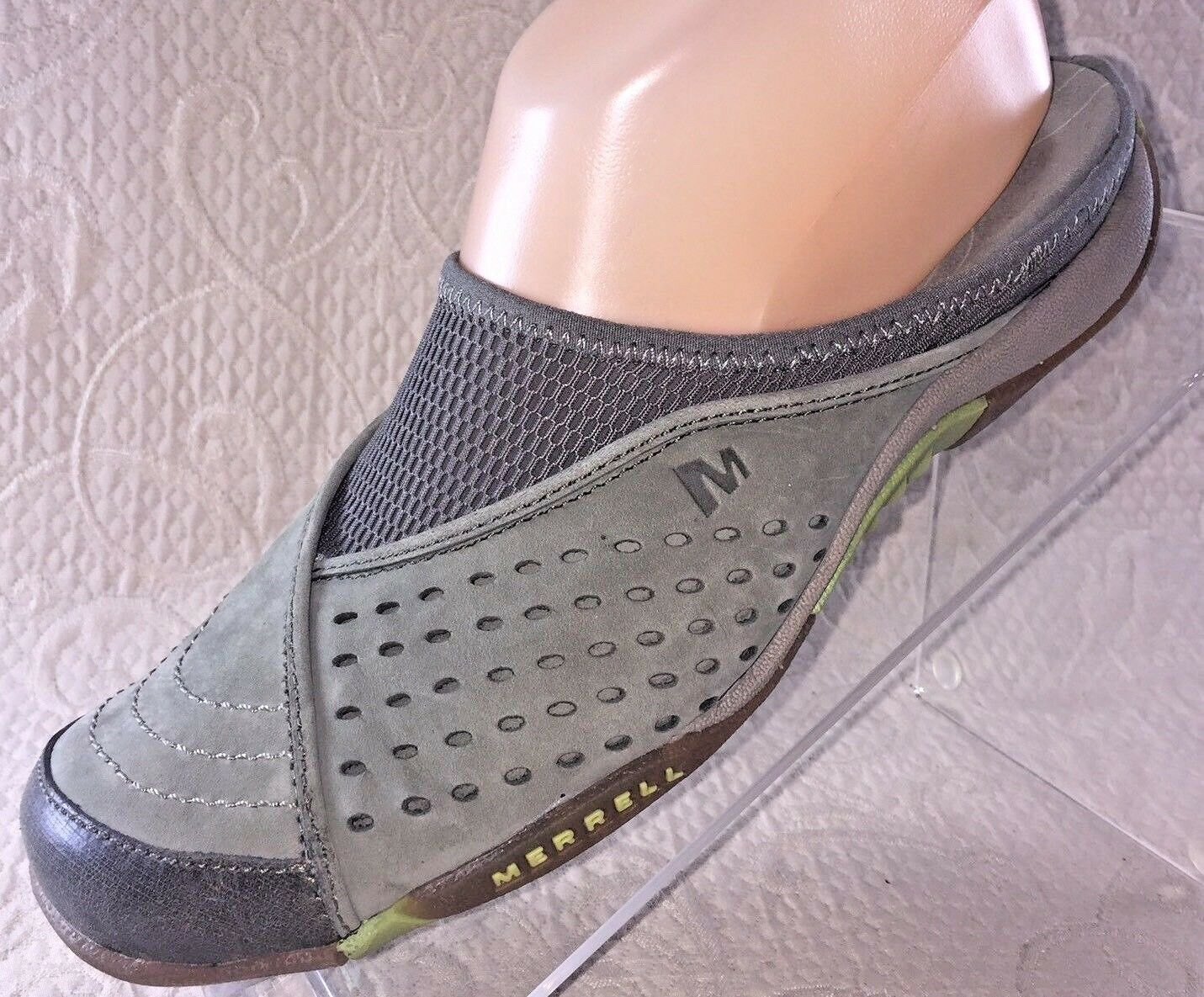 MERRELL Women 7 Rumba Moss Green Slip On Suede Leather Mesh Mules shoes Slide EUC