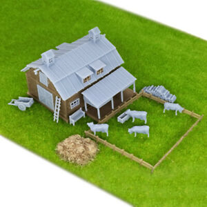 Outland Models Railroad Scenery Country Farm Barn w Accessories Z Gauge 1:220