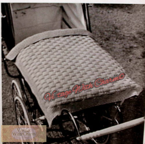 Length 31 ins Width 26 ins. Vintage Knitting Pattern Pram Cover For Baby