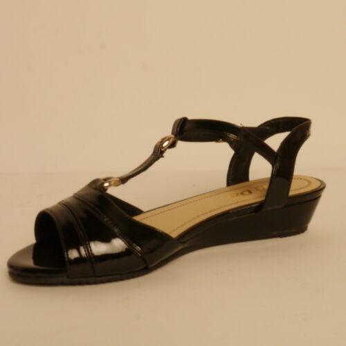 Van dal Fontana Strappy Sandal Wedge EE Fitting Black Patent RRP £59.99