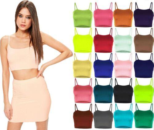 Women Sleeveless Strappy Plain Crop Top Ladies Stretchy Camisole Bralet Crop Top