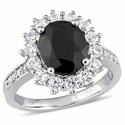 Amour Oval-Cut Black Sapphire and Created White Sapphire Halo Ring