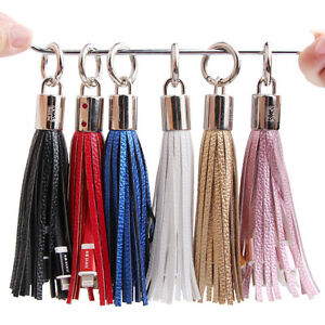 Tassels-Keyring-Bag-Charm-USB-Data-Charger-Cable-for-iPhone-5-5S-5C-6-6S-7-Plus