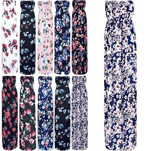 a834ce6f05 Image is loading Womens-Ladies-Bandeau-Boobtube-Ruched-Floral -Gathered-Sheering-