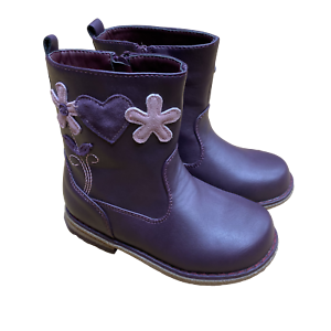 Girls Feet Street Purple Heart Flower Motif Zip Fastening Casual Winter Boots