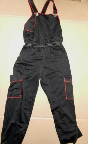 NEW HIP HOP COSTUME OVERALLS Unisex ch//adult Mens Black Lightweight red stitchn