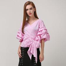 SAVANNAH PALE PINK Ruched Puff Sleeve Waist Wrap Tie Bow Blouse/Shirt/Top M BHCS