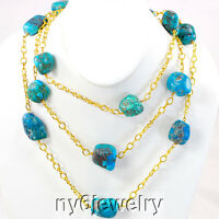 Blue Turquoise Nugget Gold Plated Chain Necklace 63''