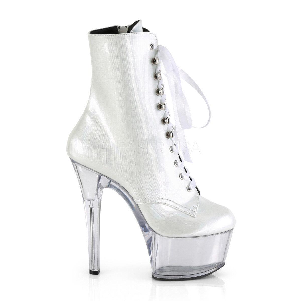 Aspire bianca Brush Hologram Patent 6  High Heel Platform Ankle avvio Dimensione 12