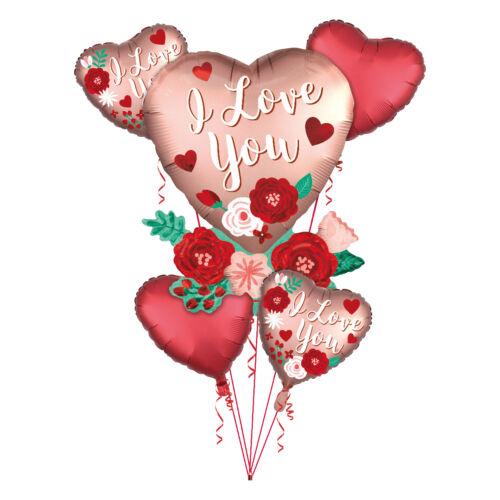 Día de San Valentín Amor Grande Grupo de globo de la Hoja Ramo de fiesta rojo y rosa oro Celada