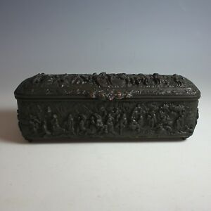 Antigüedad Bronce Cobre Repujado Caja Adornados en Cinco Lados