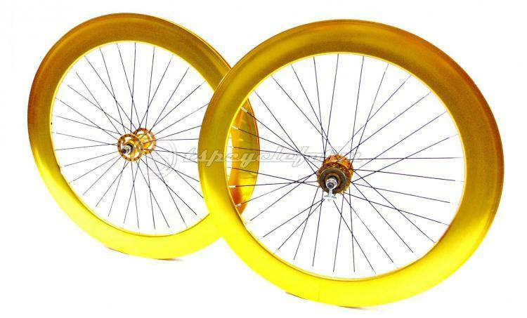 Pair set wheelset fixed bike 28 700c anodized gold 70mm single speed fixed gear