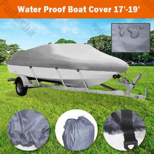 UV Protection 17-19 ft Boat Cover Waterproof V-Hull 95'' Beam Fishing Base BBT2Q