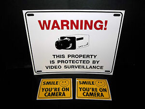 *US SELLER* SECURITY CAMERA SYSTEM WARNING YARD FENCE SIGN+SMILE DECAL STICKERS
