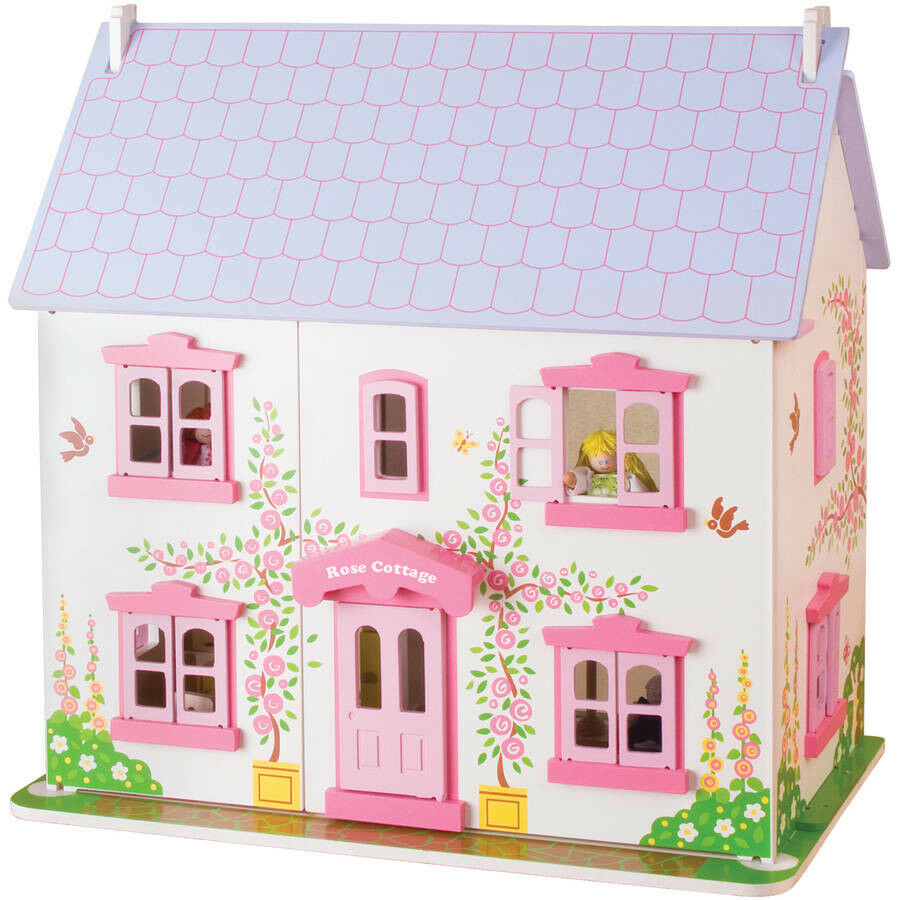 Rose Cottage Wooden Doll House Bigjigs Toys 36 Play Pieces Play Set for Girls