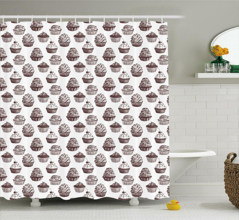 Cupcake Pattern Shower Curtain Fabric Decor Set With Hooks 4 Grosses 8b1e93