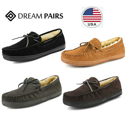 Mens Winter Slip-On Walking Shoes Fur Liner Warm Outdoor Work Boots Casual Vintage Loafers
