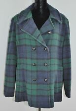 L L Bean Long Wool Coat Jacket Peacoat Double Breasted Blue Green Plaid Size 20