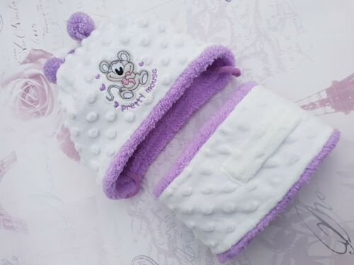 Baby Girls Toddler Warm Winter Dimple Mink Hat /& Scarf Xmas Santa Gift 3-24 mths