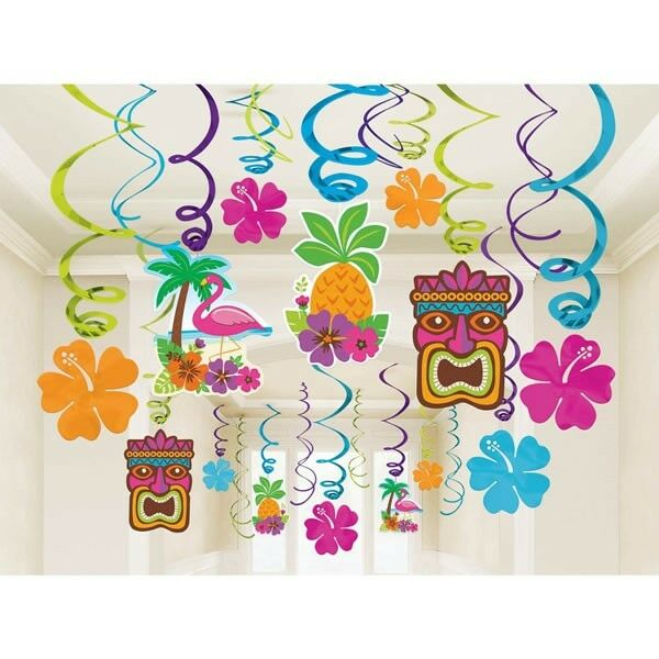 PACK OF 30 LUAU HAWAIIAN TROPICAL TIKI PARTY SWIRLS HANGING DECORATIONS HIBISCUS