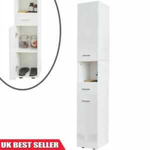High Gloss Tallboy Bathroom Cabinet Corner Storage Cupboard Furniture Unit White Ebay