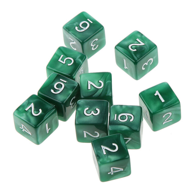 10pcs Six Sided Dice D6 Playing Dungeons & Dragons D&D TRPG Board Game Green