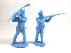 2-Marx-Alamo-Shako-Mexican-54mm-Light-Blue-Toy-Soldiers-Recast