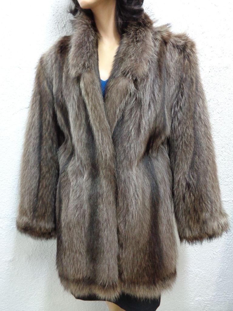 Nueva chaqueta de piel  de mapache Abrigo Mujeres Mujer Talla 4 pequeñas  Garantía 100% de ajuste