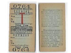 Blank to Blank Southern Railway Return Ticket 034Tourist034 3rd Cl London Bridge - <span itemprop='availableAtOrFrom'>Gillingham, United Kingdom</span> - Blank to Blank Southern Railway Return Ticket 034Tourist034 3rd Cl London Bridge - Gillingham, United Kingdom