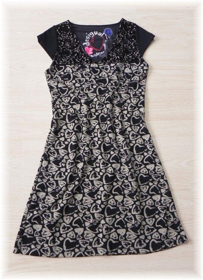 Desigual  traumhaft schönes Kleid Etui mit Herzen und Samt  Gr. 36