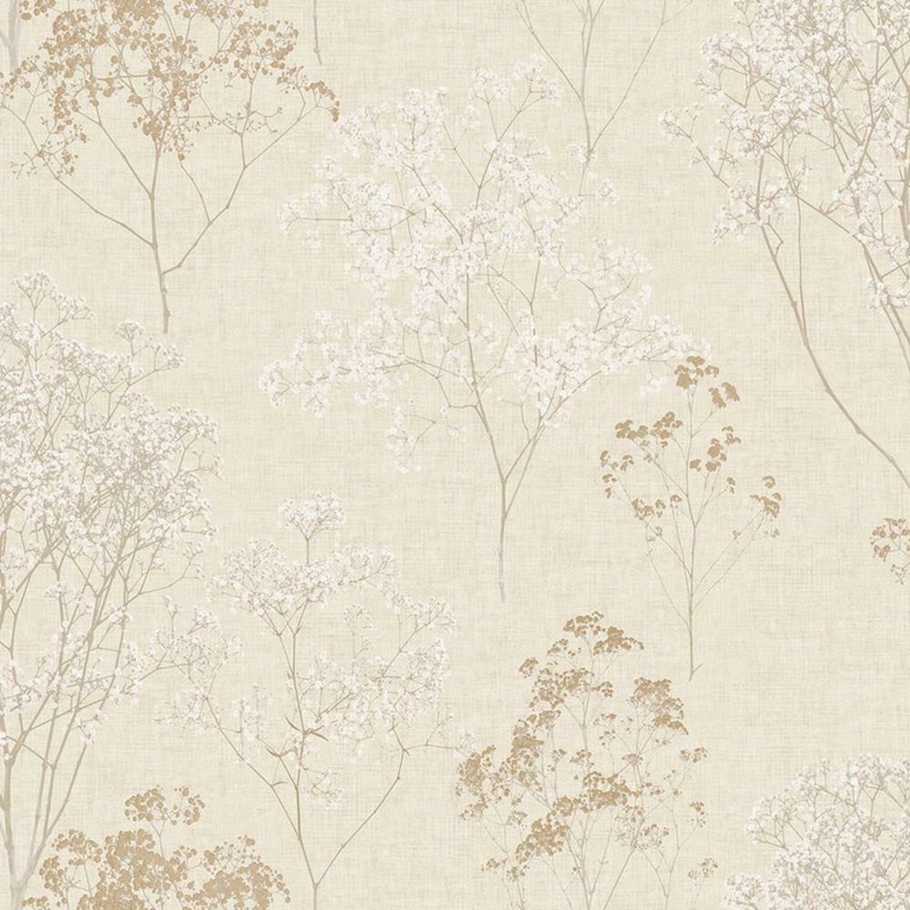 Fh37508 - Gutbürgerlich Blühend Bäume braun Weiß Beige Galerie Tapete