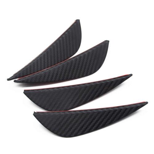 4 Pcs Rubber Carbon Fiber Style Car Front Bumper Fins Lip Canards Splitters Trim
